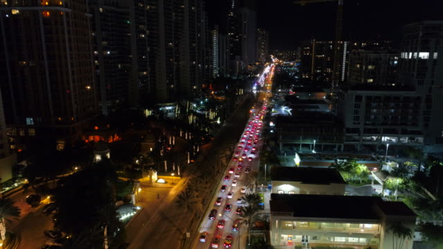 Aerial video of night road construction in the city video