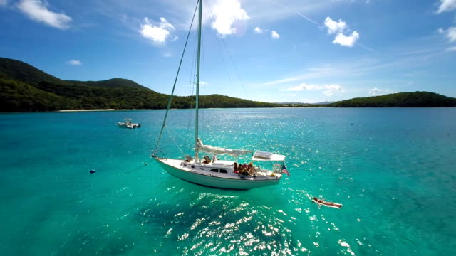 aerial video of people relaxing on sailboat in the Caribbean video