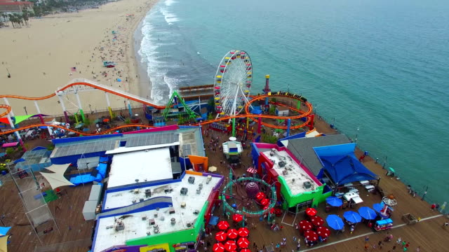 Aerial video of Santa Monica Beach video