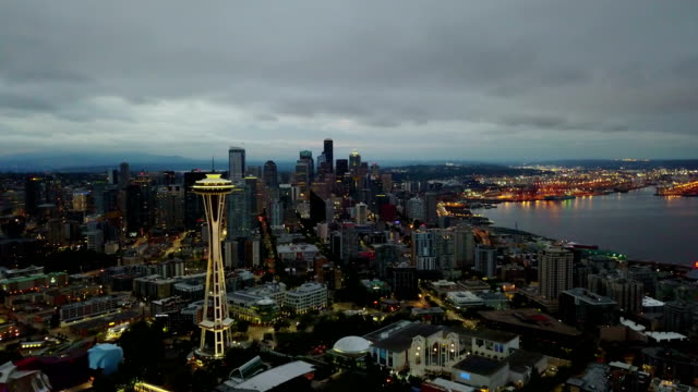 Aerial video of Seattle in morning twilight