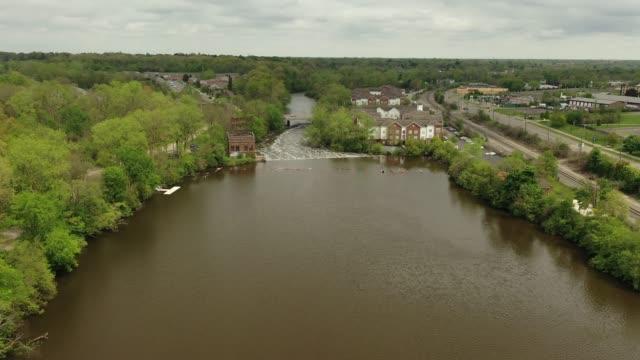Aerial Video of the Huron River and the Peninsular Paper Dam - Ypsilanti, Michigan