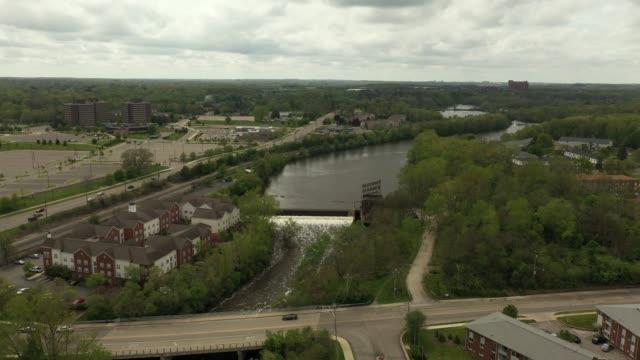 Aerial Video of the Peninsular Paper Dam in Ypsilanti, Michigan
