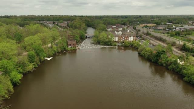 Aerial Video of the Peninsular Paper Dam on the Huron River in Ypsilanti, Michigan
