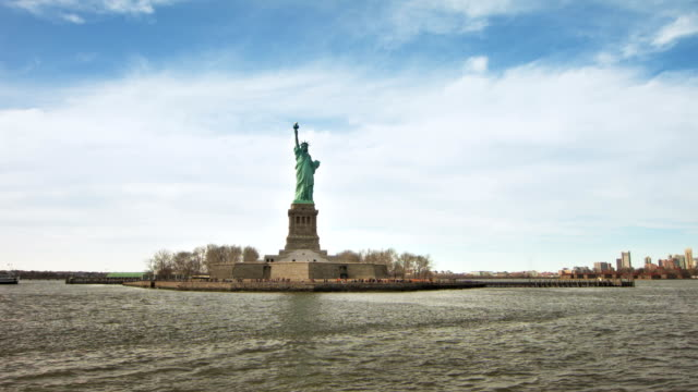 Aerial video of the Statue of Liberty