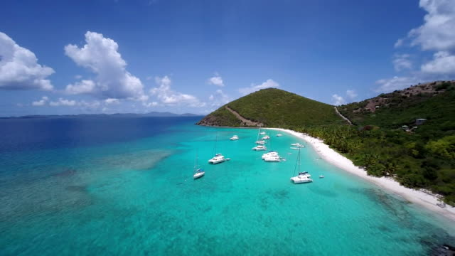 aerial video of White Bay, Jost Van Dyke, BVI video