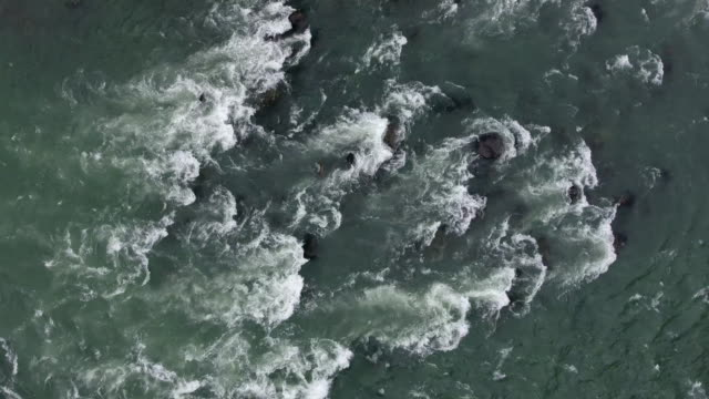 Aerial Video of Whitewater on River An aerial view of whitewater flowing on the Skykomish River in north western Washington state. rapids river stock videos & royalty-free footage