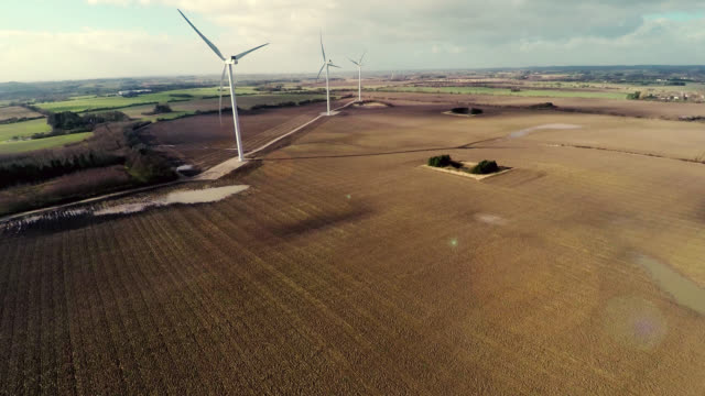 Aerial video of wind generator / wind turbine video