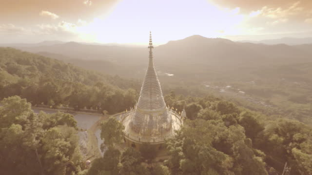Aerial video pagoda on mountain, Thailand. video