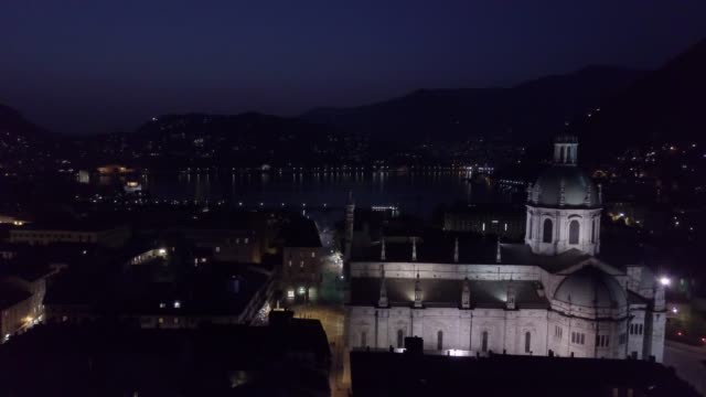 aerial video shooting with drone on como - lombardia video stock e b–roll