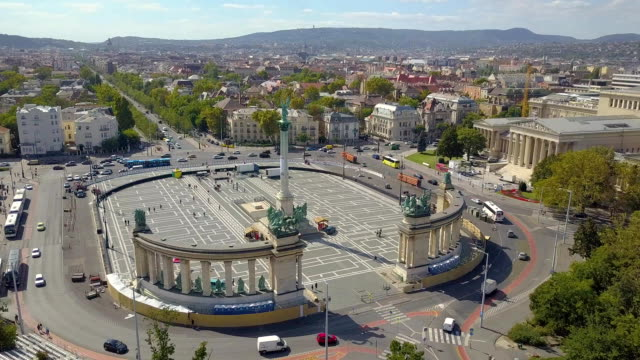 Aerial video shows the Heroes Square in downtown Budapest, Hungary. Aerial video shows the Heroes Square in downtown Budapest, Hungary - FullHD drone footage. hungary stock videos & royalty-free footage