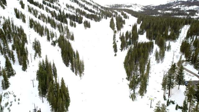 Aerial Video Skiing on Mountain