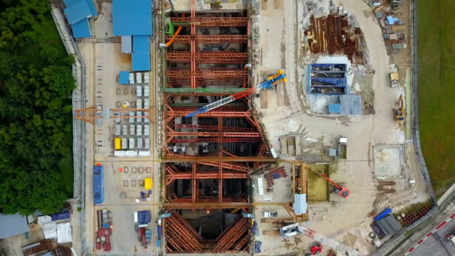 aerial video subway construction site singapore - industria edile video stock e b–roll