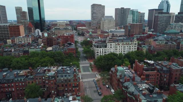 Aerial video tour residential brownstone buildings Boston video