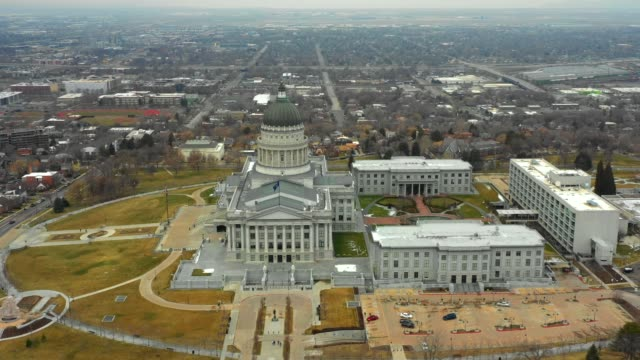 Aerial video Utah State Capitol Building Salt Lake City