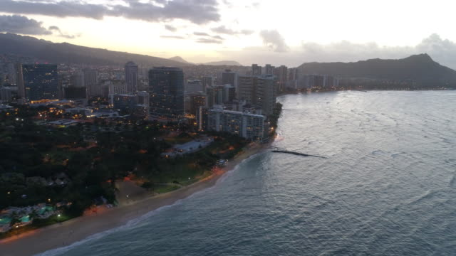 Aerial video Waikiki Beach Hawaii at dawn video