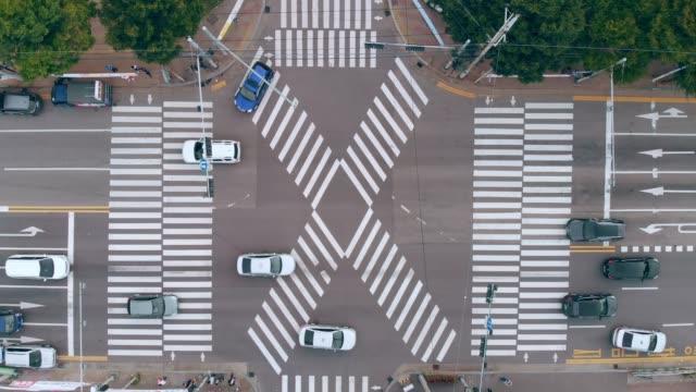 Aerial View a Crosswalks Asia, Korea, Seoul, South Korea, Aerial View seoul stock videos & royalty-free footage