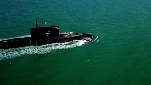 Bидео Aerial View - a modern missile submarine