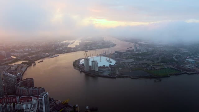 4K Aerial View Above London O2 Arena by The River Thames video