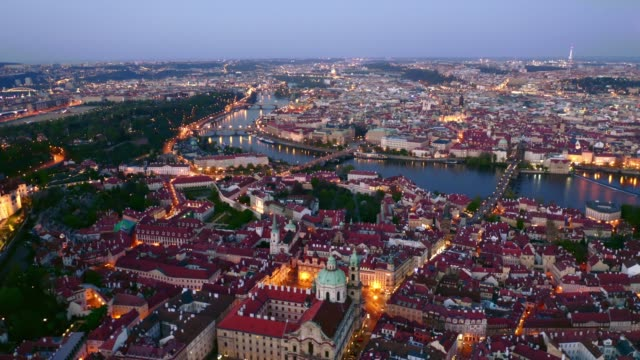 aerial view above prague at night - gothic architecture stock videos & royalty-free footage
