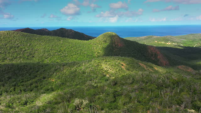 Aerial view above scenery of Curacao, Caribbean with ocean, coast, mountains Aerial over Curacao /Caribbean /Netherland Antilles curaçao stock videos & royalty-free footage