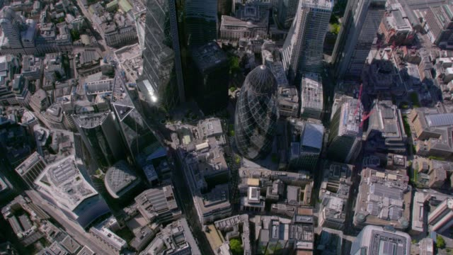 Aerial View above The City, London, UK. 4K