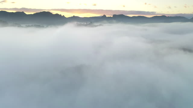 Aerial view above the clouds and sky in sunrise time
