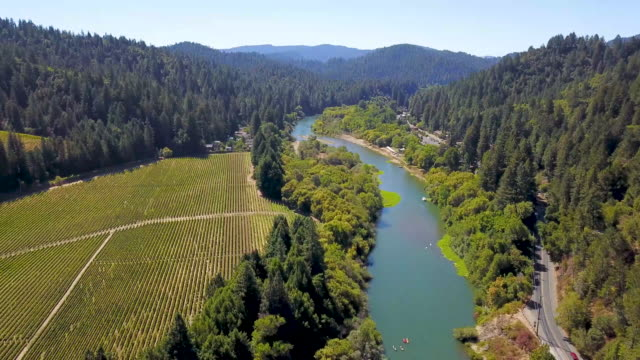 Aerial view above the Russian River