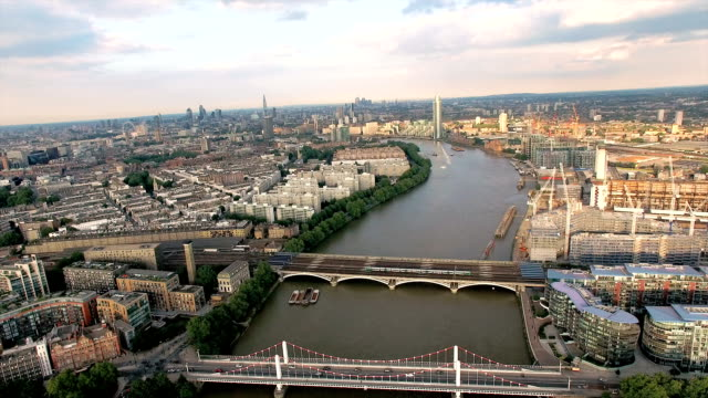 Aerial View Above The Thames River and Bridges in London video
