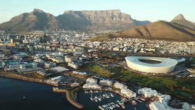 Aerial view across Cape Town, South Africa View from the ocean of Cape Town, South Africa - aerial cape town stock videos & royalty-free footage