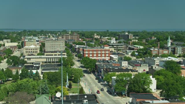 Aerial View Across Downtown Fond du Lac Towards Lake Winnebago