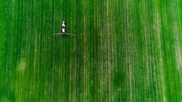 Aerial view agricultural farming land growing vegetable crops. Aerial view agricultural farming land growing vegetable crops. Farmer working on agricultural field. GMO food production. cultivated land stock videos & royalty-free footage