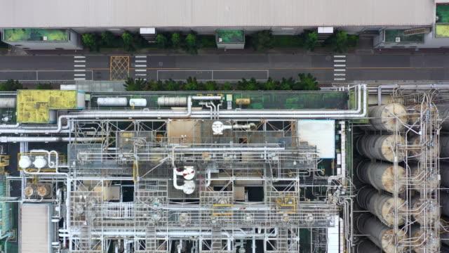 flyg utsikt luft kyl vatten, kondenserande kyl vatten i fabriken. - ventilation bildbanksvideor och videomaterial från bakom kulisserna