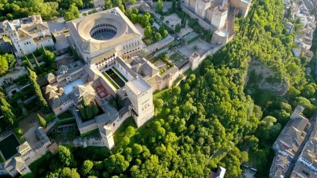 Aerial view. Alhambra Palace on a beautiful sunny evening. Granada, Spain. video