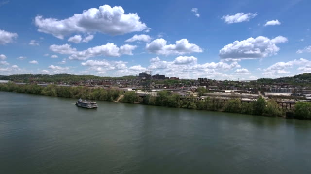 Aerial View Allegheny River and Lawrenceville video