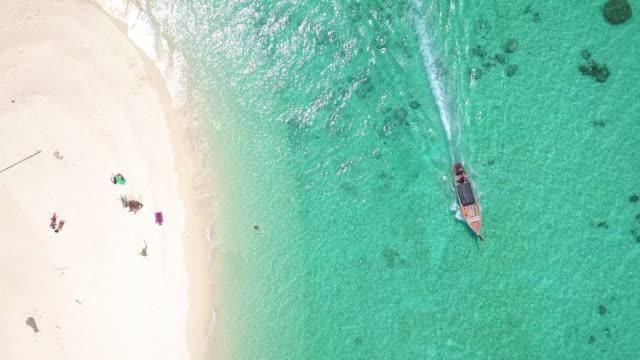 aerial view, amazing tropical curve beach with summer turquoise sea - phuket video stock e b–roll