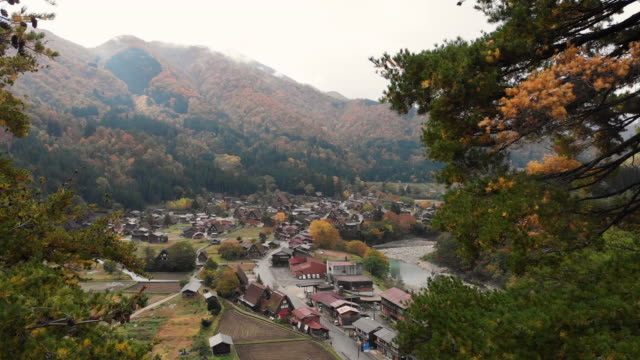 stockvideo's en b-roll-footage met luchtfoto en dolly toekomen van shirakawago dorp in herfst seizoen, gifu, japan. - japan