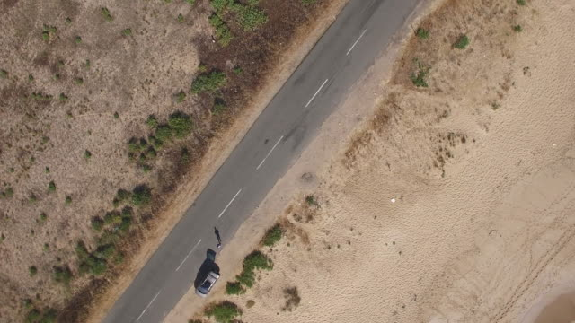 4K Aerial view and rotation of a road