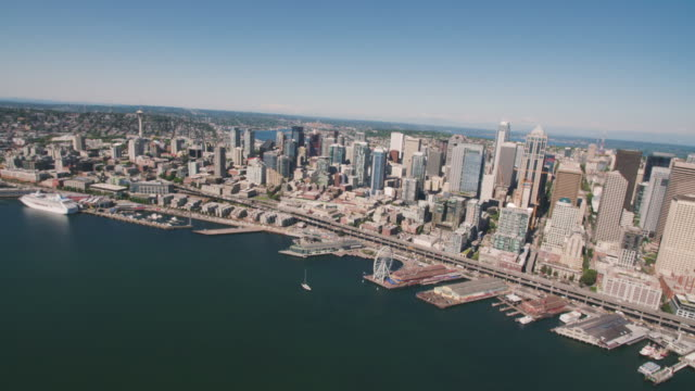 Aerial View Approaching City of Seattle Western Waterfront Downtown
