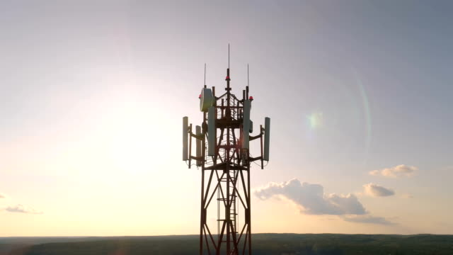 Video Aerial view around of the cellular telecom tower