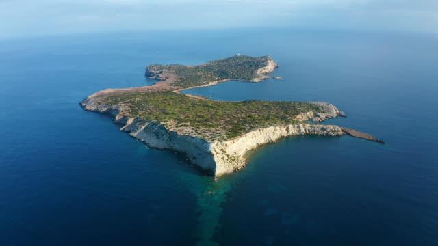 aerial view around scenic balearic islands. - ibiza filmów i materiałów b-roll