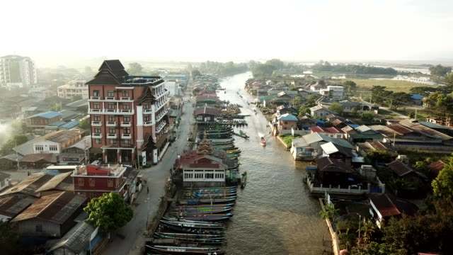 Aerial view  Asian Floating village houses lake in Myanmar, Burma of Inle Lake south east Asia,Floating gardens on Inle Lake, Myanmar (Burma)