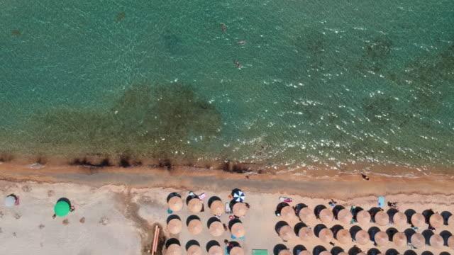 flygfoto på stranden vid nea roda i chalkidiki, grekland - egeiska havet bildbanksvideor och videomaterial från bakom kulisserna