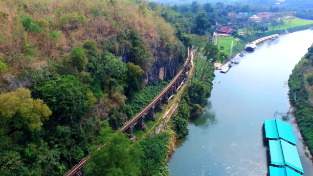 Aerial View at Beautiful landscape Death Railway bridge over the Kwai Noi River at Krasae cave in Kanchanaburi province Thailand