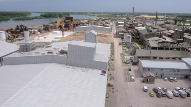 aerial view at reconstuction of an old industrial building video