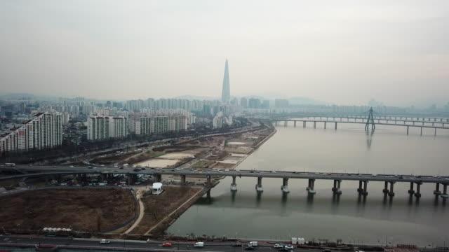 vídeos y material grabado en eventos de stock de vista aérea en seúl skyline, corea del sur - n seoul tower