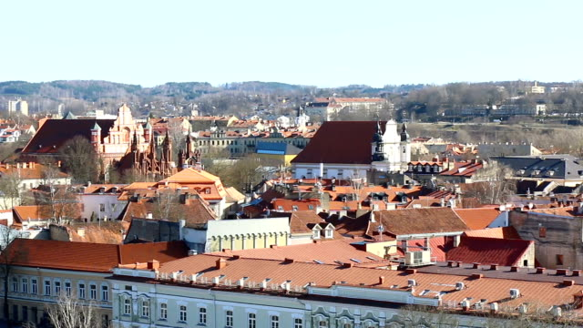 vilnius, lithuania. aerial view at vilnius., old town. - lituania video stock e b–roll