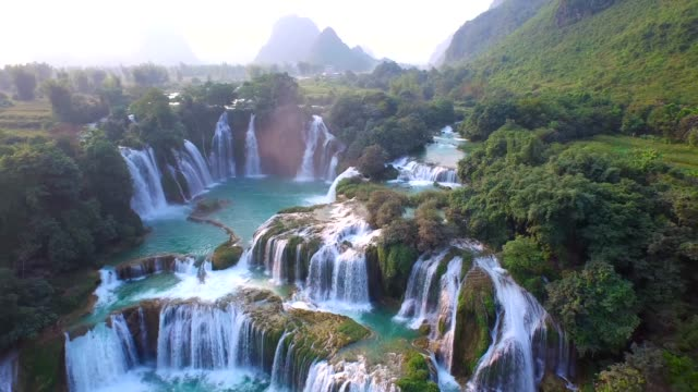 aerial view bangioc waterfall in cao bang province, vietnam - landscape video stock e b–roll