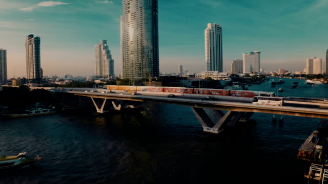 Aerial view Bangkok riverside at dusk video