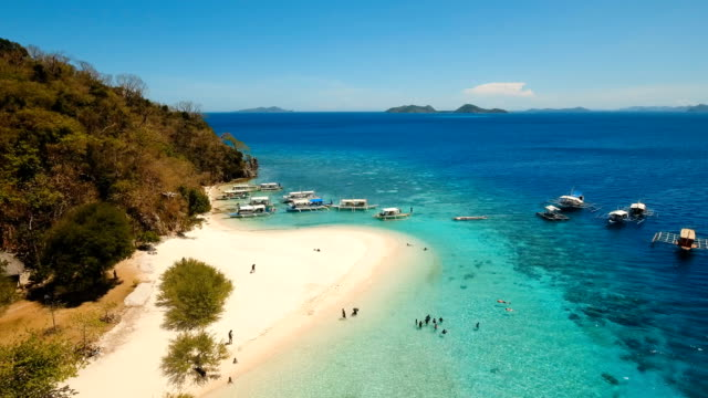 Aerial view beautiful beach on a tropical island Banana. Philippines video