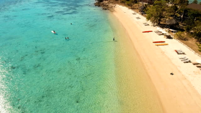 Aerial view beautiful beach on a tropical island. Coron, Palawan, Philippines video